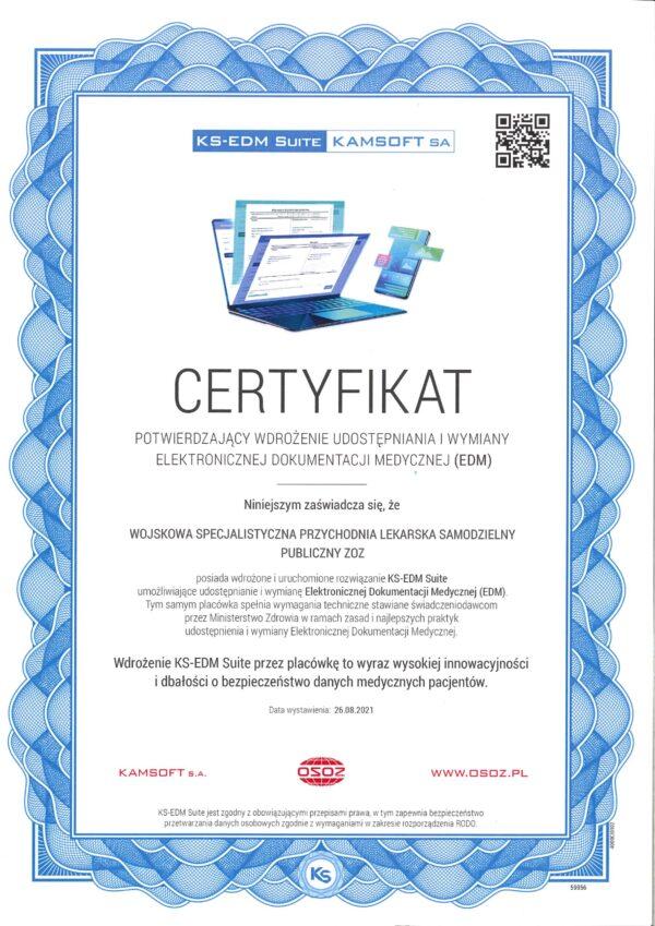 Certyfikat wdrożenia udostępniania i wymiany Elektronicznej Dokumentacji Medycznej